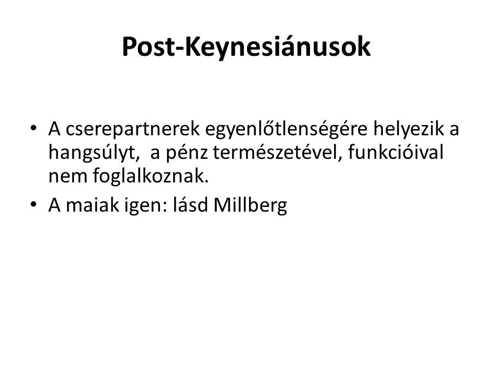 Post-Keynesiánusok A cserepartnerek egyenlőtlenségére helyezik a hangsúlyt, a pénz természetével, funkcióival nem foglalkoznak.