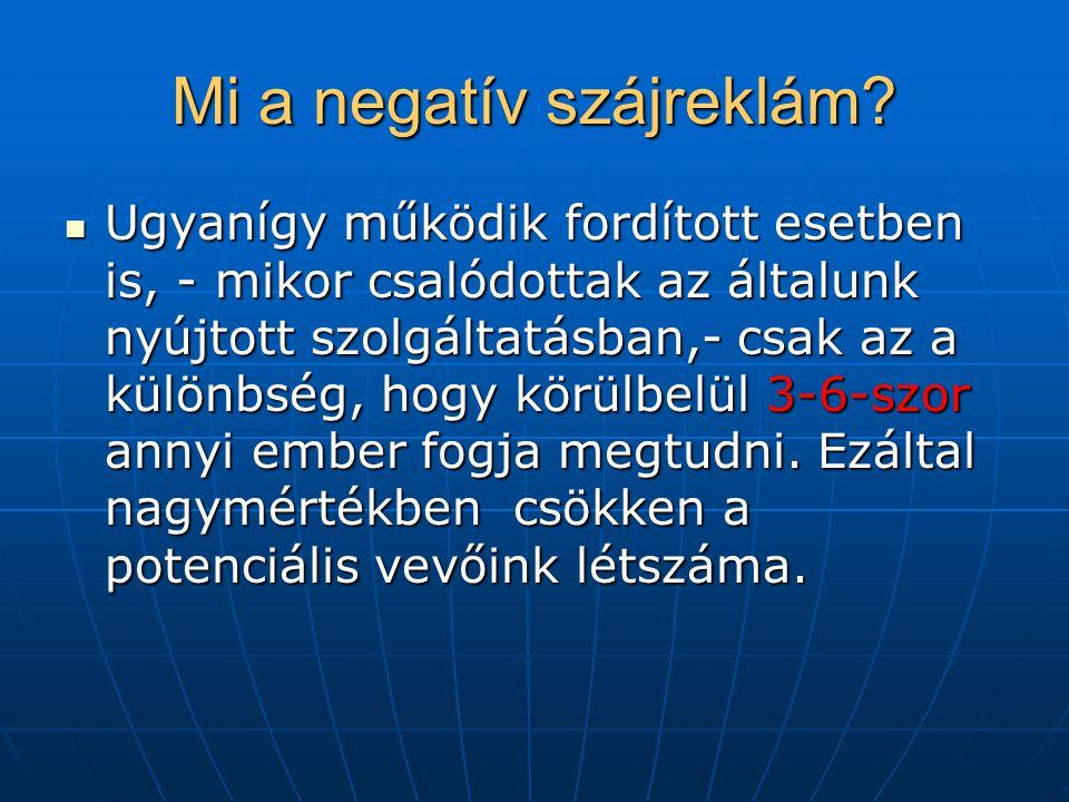 Mi a negatív szájreklám? Ugyanígy működik fordított esetben is, - mikor csalódottak az általunk nyújtott szolgáltatásban,- csak az a különbség, hogy k