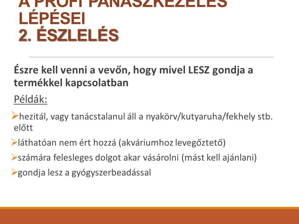 2.ÉSZLELÉS A PROFI PANASZKEZELÉS LÉPÉSEI 2.