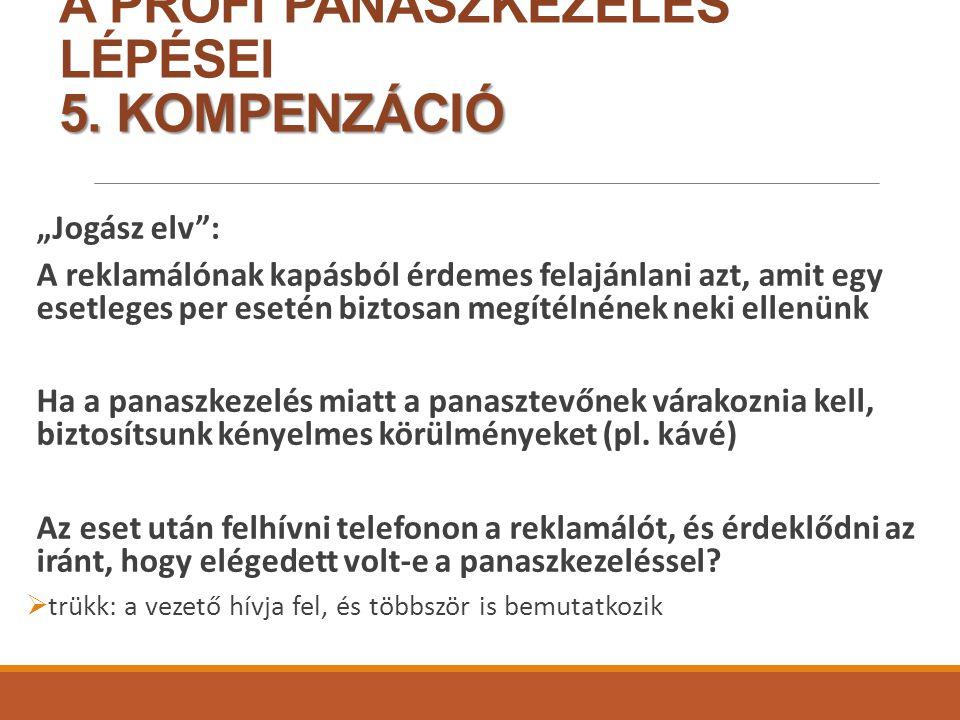 5.KOMPENZÁCIÓ A PROFI PANASZKEZELÉS LÉPÉSEI 5.