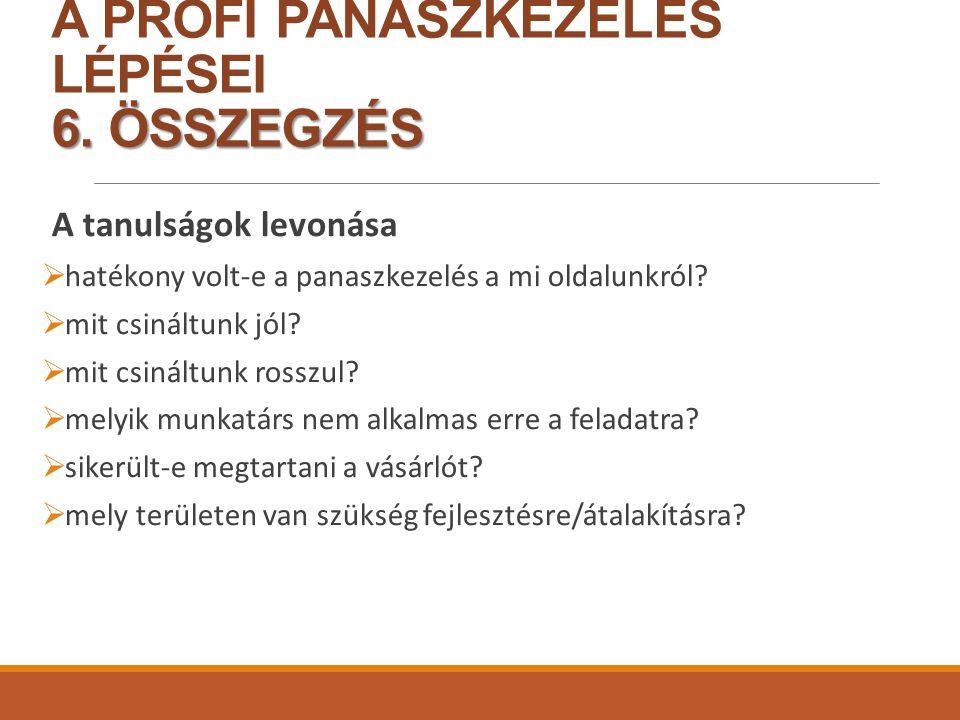 6.ÖSSZEGZÉS A PROFI PANASZKEZELÉS LÉPÉSEI 6.