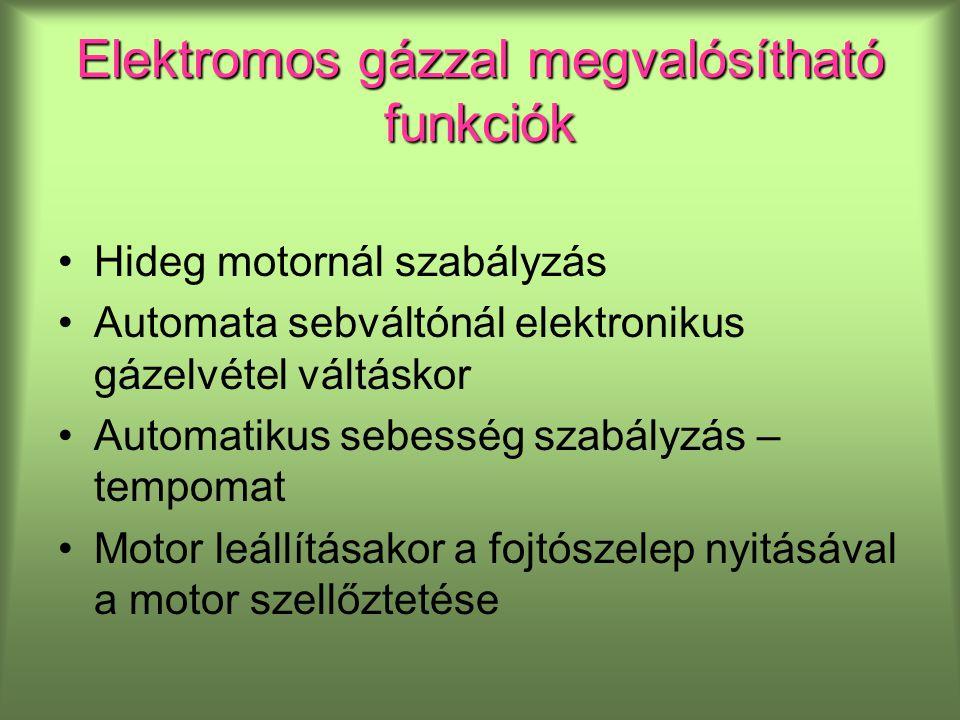 Elektromos gázzal megvalósítható funkciók Hideg motornál szabályzás Automata sebváltónál elektronikus gázelvétel váltáskor Automatikus sebesség szabályzás – tempomat Motor leállításakor a fojtószelep nyitásával a motor szellőztetése
