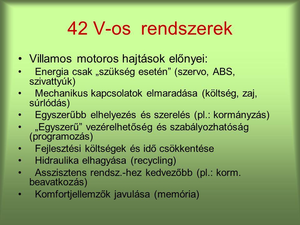 """Villamos motoros hajtások előnyei: Energia csak """"szükség esetén (szervo, ABS, szivattyúk) Mechanikus kapcsolatok elmaradása (költség, zaj, súrlódás) Egyszerűbb elhelyezés és szerelés (pl.: kormányzás) """"Egyszerű vezérelhetőség és szabályozhatóság (programozás) Fejlesztési költségek és idő csökkentése Hidraulika elhagyása (recycling) Asszisztens rendsz.-hez kedvezőbb (pl.: korm."""