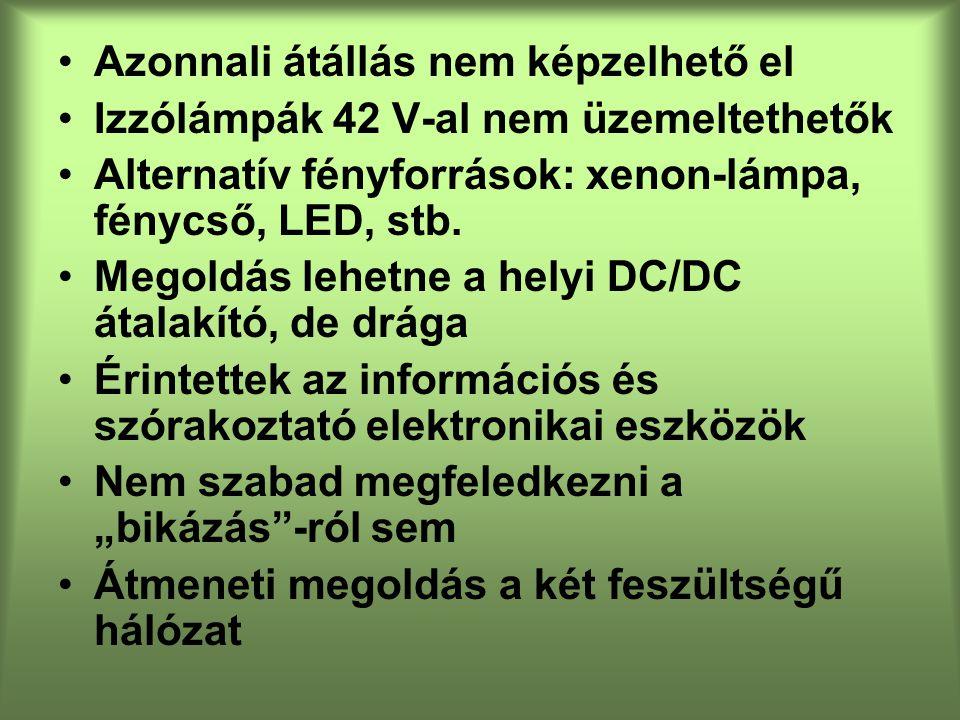Azonnali átállás nem képzelhető el Izzólámpák 42 V-al nem üzemeltethetők Alternatív fényforrások: xenon-lámpa, fénycső, LED, stb.