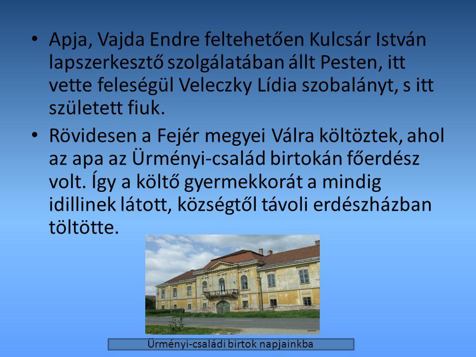 Apja, Vajda Endre feltehetően Kulcsár István lapszerkesztő szolgálatában állt Pesten, itt vette feleségül Veleczky Lídia szobalányt, s itt született f