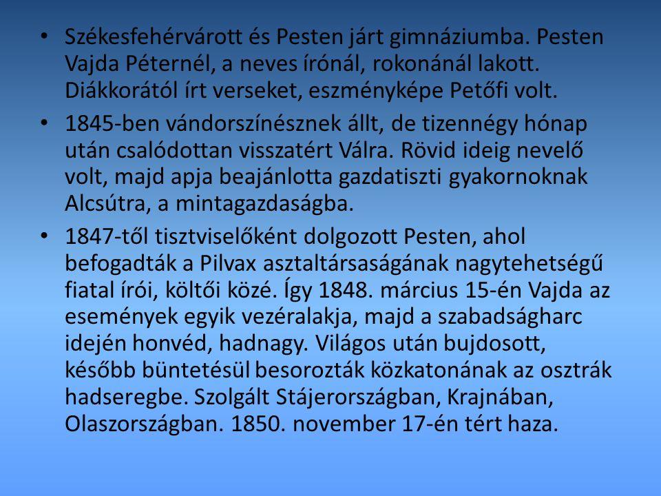 Székesfehérvárott és Pesten járt gimnáziumba. Pesten Vajda Péternél, a neves írónál, rokonánál lakott. Diákkorától írt verseket, eszményképe Petőfi vo