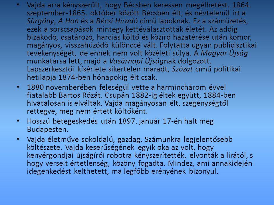 Vajda arra kényszerült, hogy Bécsben keressen megélhetést. 1864. szeptember-1865. október között Bécsben élt, és névtelenül írt a Sürgöny, A Hon és a
