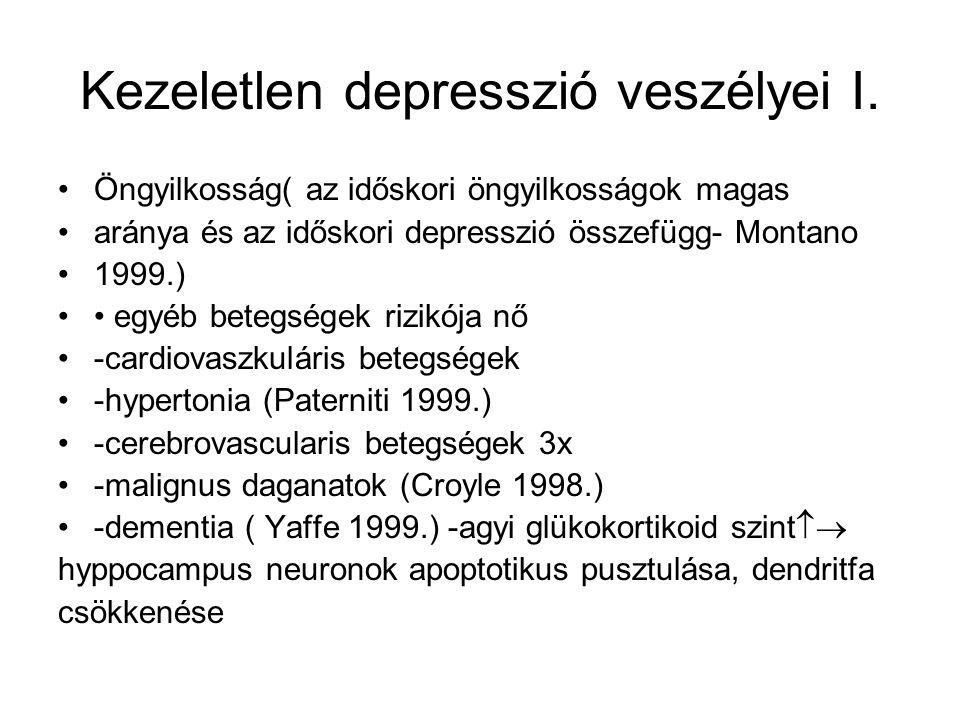 Kezeletlen depresszió veszélyei I. Öngyilkosság( az időskori öngyilkosságok magas aránya és az időskori depresszió összefügg- Montano 1999.) egyéb bet