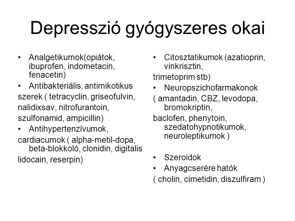 Depresszió gyógyszeres okai Analgetikumok(opiátok, ibuprofen, indometacin, fenacetin) Antibakteriális, antimikotikus szerek ( tetracyclin, griseofulvi