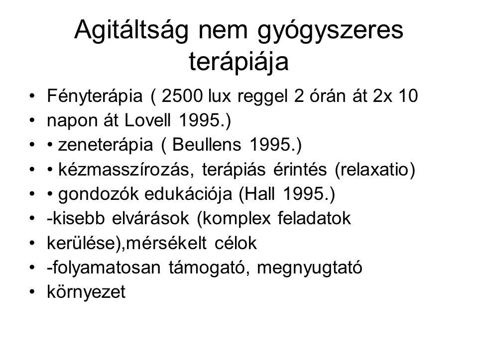 Agitáltság nem gyógyszeres terápiája Fényterápia ( 2500 lux reggel 2 órán át 2x 10 napon át Lovell 1995.) zeneterápia ( Beullens 1995.) kézmasszírozás