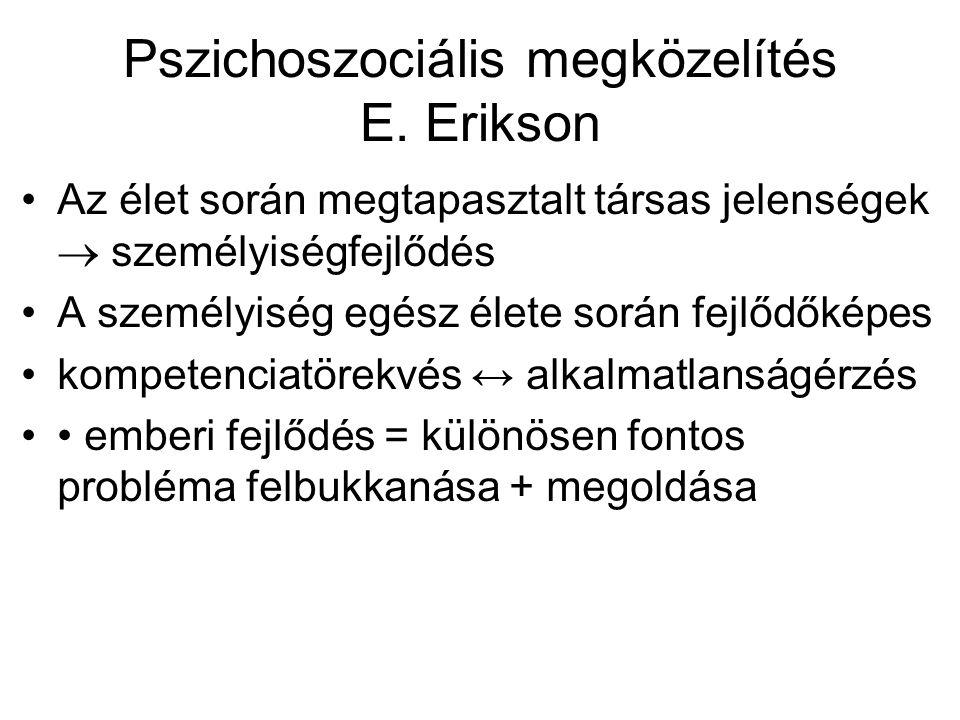 Pszichoszociális megközelítés E. Erikson Az élet során megtapasztalt társas jelenségek  személyiségfejlődés A személyiség egész élete során fejlődőké