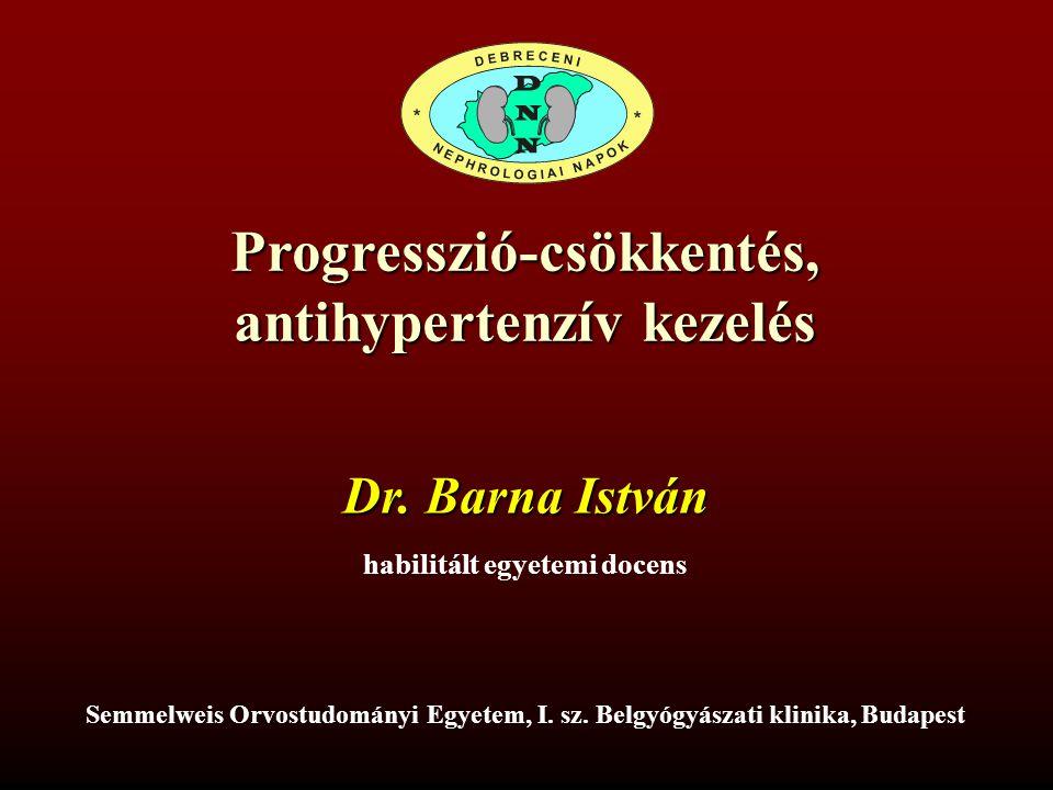 Progresszió-csökkentés, antihypertenzív kezelés Semmelweis Orvostudományi Egyetem, I. sz. Belgyógyászati klinika, Budapest Dr. Barna István habilitált