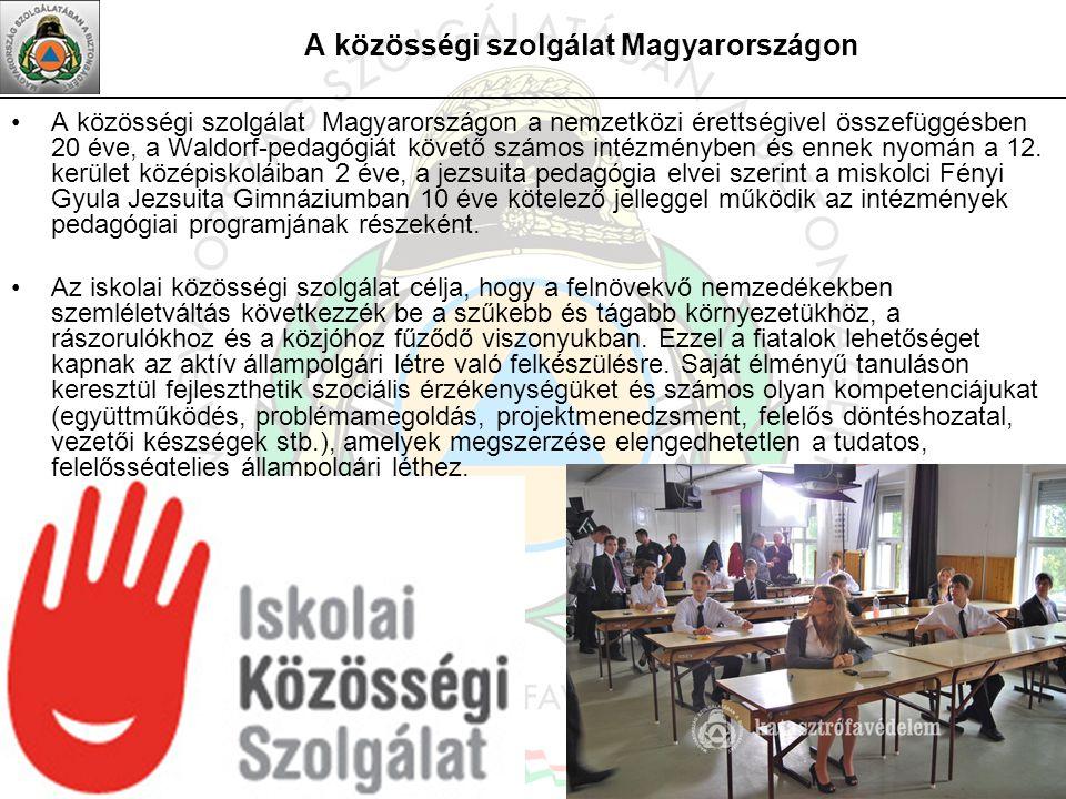 A közösségi szolgálat Magyarországon A közösségi szolgálat Magyarországon a nemzetközi érettségivel összefüggésben 20 éve, a Waldorf-pedagógiát követő