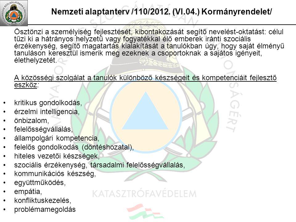 Nemzeti alaptanterv /110/2012. (VI.04.) Kormányrendelet/ Ösztönzi a személyiség fejlesztését, kibontakozását segítő nevelést-oktatást: célul tűzi ki a