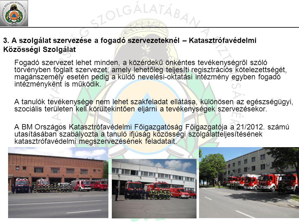 3. A szolgálat szervezése a fogadó szervezeteknél – Katasztrófavédelmi Közösségi Szolgálat Fogadó szervezet lehet minden, a közérdekű önkéntes tevéken