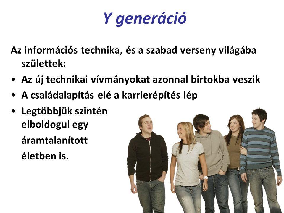 Y generáció Az információs technika, és a szabad verseny világába születtek: Az új technikai vívmányokat azonnal birtokba veszik A családalapítás elé