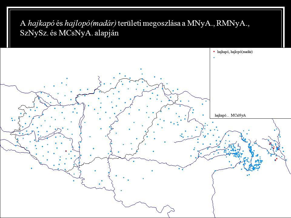 A hajkapó és hajlopó(madár) területi megoszlása a MNyA., RMNyA., SzNySz. és MCsNyA. alapján