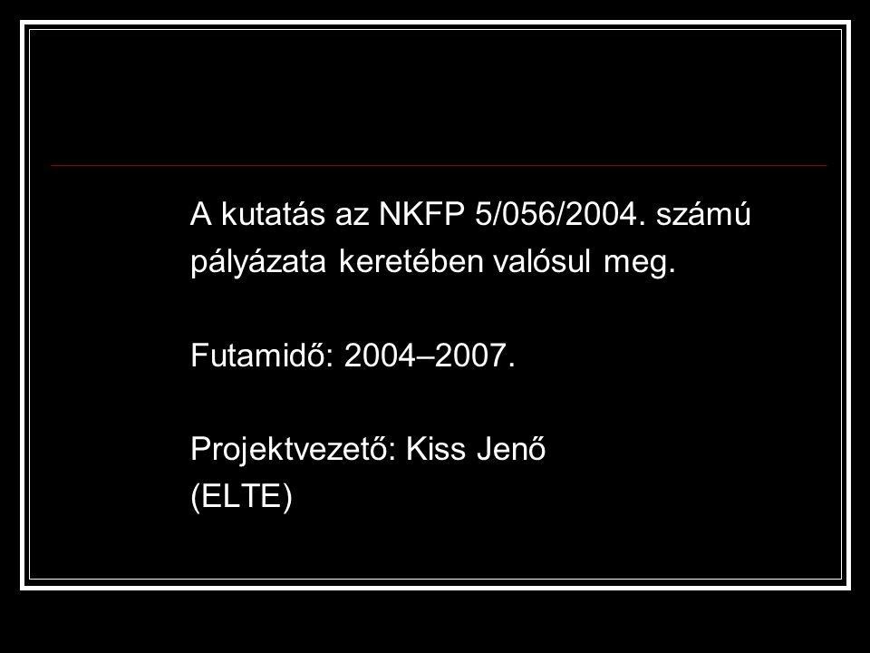 A kutatás az NKFP 5/056/2004. számú pályázata keretében valósul meg.