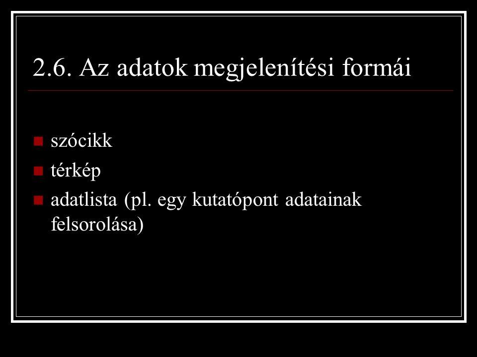 2.6. Az adatok megjelenítési formái szócikk térkép adatlista (pl.