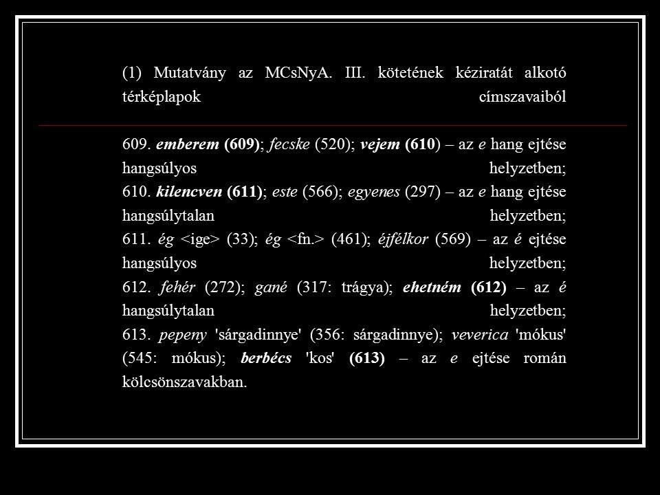 (1) Mutatvány az MCsNyA. III. kötetének kéziratát alkotó térképlapok címszavaiból 609.