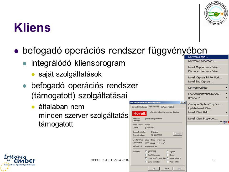 HEFOP 3.3.1–P-2004-06-0071/1.010 Kliens befogadó operációs rendszer függvényében integrálódó kliensprogram saját szolgáltatások befogadó operációs ren