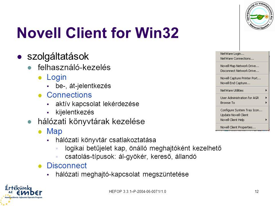 HEFOP 3.3.1–P-2004-06-0071/1.012 Novell Client for Win32 szolgáltatások felhasználó-kezelés Login  be-, át-jelentkezés Connections  aktív kapcsolat