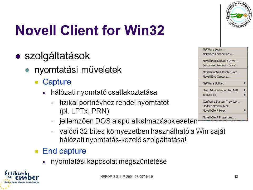 HEFOP 3.3.1–P-2004-06-0071/1.013 Novell Client for Win32 szolgáltatások nyomtatási műveletek Capture  hálózati nyomtató csatlakoztatása  fizikai por