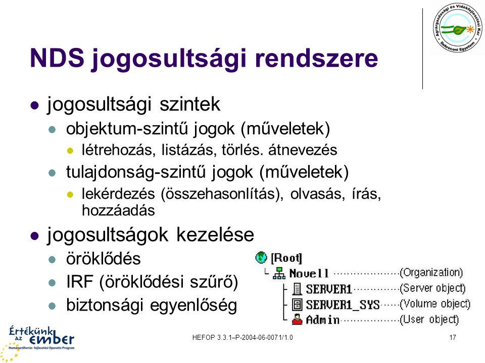 HEFOP 3.3.1–P-2004-06-0071/1.017 NDS jogosultsági rendszere jogosultsági szintek objektum-szintű jogok (műveletek) létrehozás, listázás, törlés. átnev