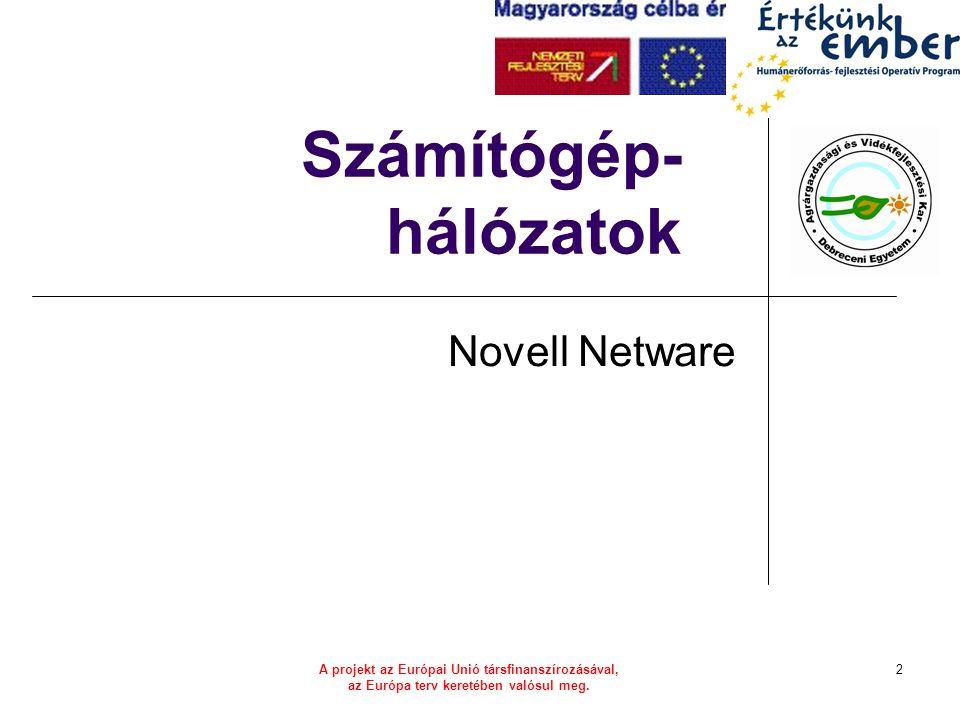 HEFOP 3.3.1–P-2004-06-0071/1.03 Történet 1983/85: Netware első fájl-szerver LAN OS saját hálózati protokoll: IPX/SPX 1986: Netware v2.x telepítőkészlet 1989: Netware 3 a legtöbb működő Netware rendszer alapja 1993: Netware 4 NDS beágyazott TCP/IP 1998: Netware 5 natív TCP/IP 2003: Open Enterprise Server SuSE integráció