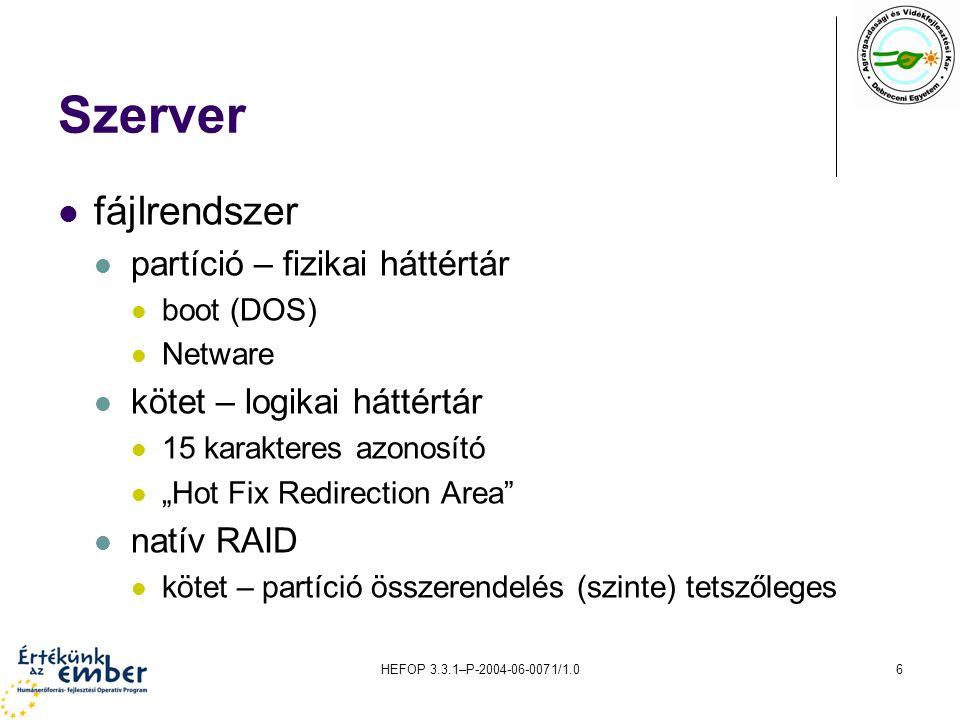 HEFOP 3.3.1–P-2004-06-0071/1.06 Szerver fájlrendszer partíció – fizikai háttértár boot (DOS) Netware kötet – logikai háttértár 15 karakteres azonosító