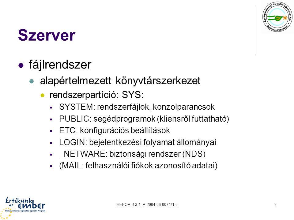 HEFOP 3.3.1–P-2004-06-0071/1.08 Szerver fájlrendszer alapértelmezett könyvtárszerkezet rendszerpartíció: SYS:  SYSTEM: rendszerfájlok, konzolparancso