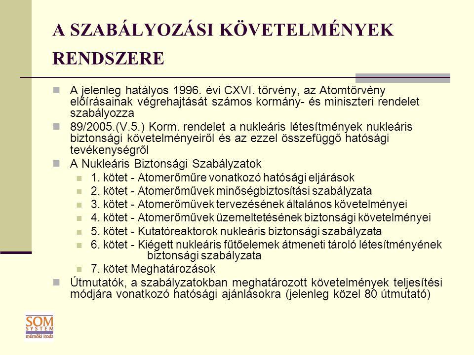 A SZABÁLYOZÁSI KÖVETELMÉNYEK RENDSZERE A jelenleg hatályos 1996. évi CXVI. törvény, az Atomtörvény előírásainak végrehajtását számos kormány- és minis