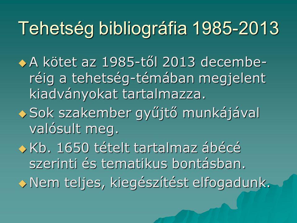 Tehetség bibliográfia 1985-2013  A kötet az 1985-től 2013 decembe- réig a tehetség-témában megjelent kiadványokat tartalmazza.  Sok szakember gyűjtő