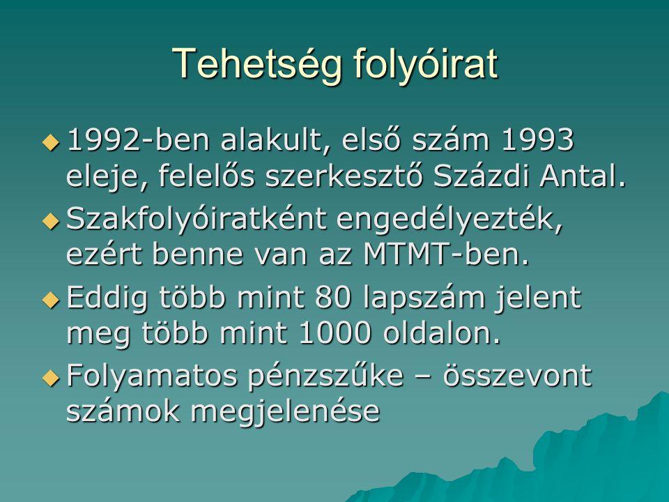 Tehetség folyóirat  1992-ben alakult, első szám 1993 eleje, felelős szerkesztő Százdi Antal.  Szakfolyóiratként engedélyezték, ezért benne van az MT