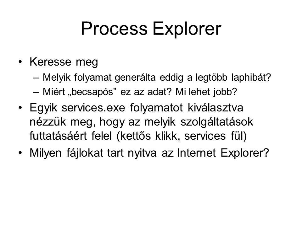 Process Explorer Keresse meg –Melyik folyamat generálta eddig a legtöbb laphibát.