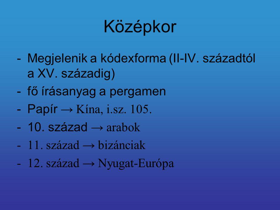 Középkor -Megjelenik a kódexforma (II-IV.századtól a XV.