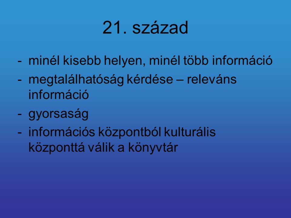 21. század -minél kisebb helyen, minél több információ -megtalálhatóság kérdése – releváns információ -gyorsaság -információs központból kulturális kö