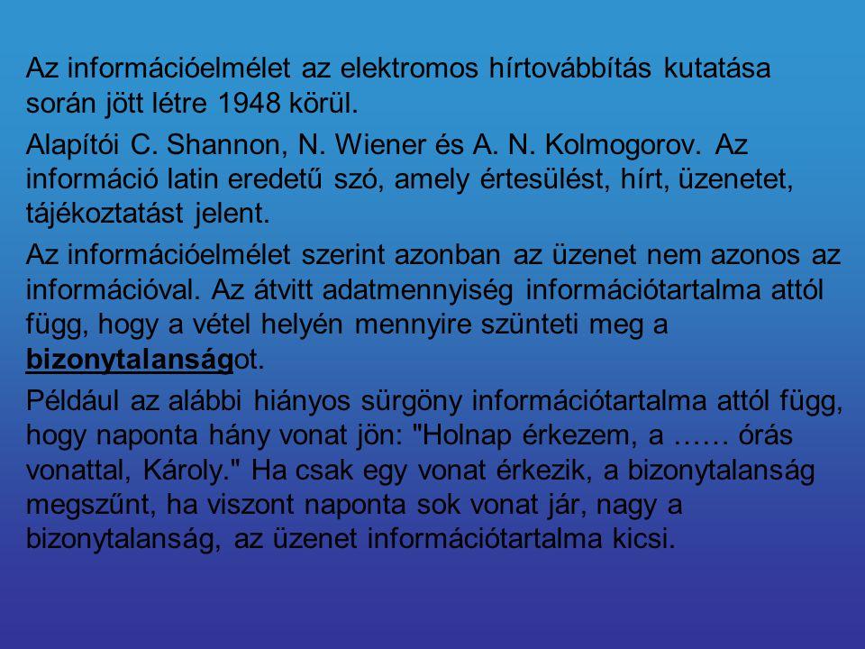 Az információelmélet az elektromos hírtovábbítás kutatása során jött létre 1948 körül. Alapítói C. Shannon, N. Wiener és A. N. Kolmogorov. Az informác