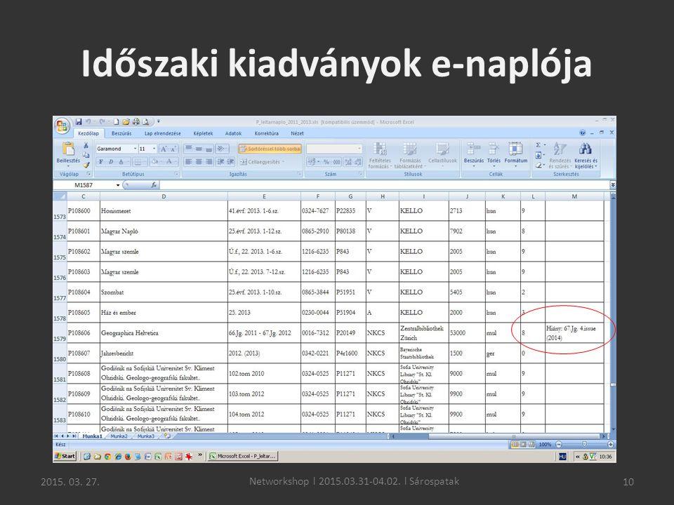 2015. 03. 27.10 Időszaki kiadványok e-naplója Networkshop l 2015.03.31-04.02. l Sárospatak