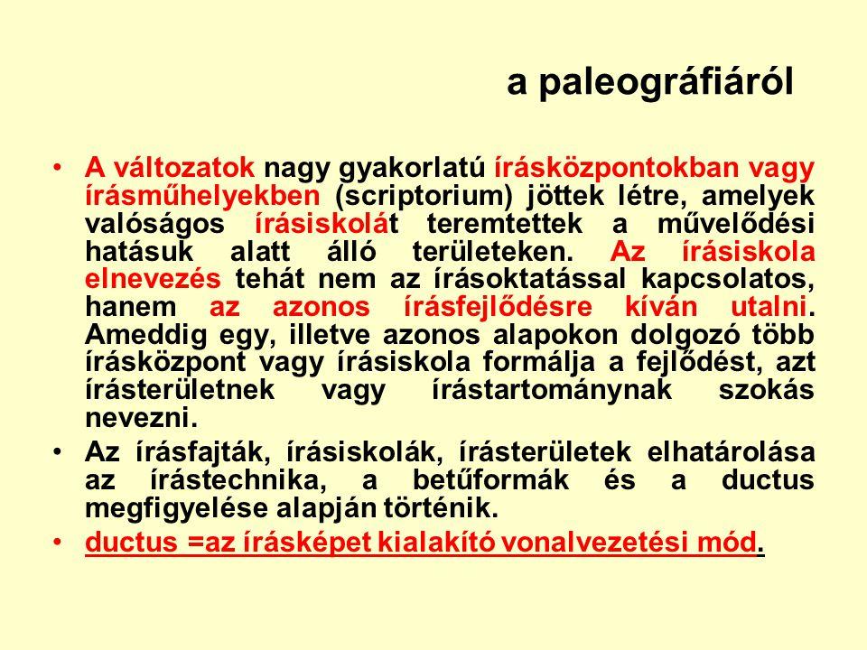 a paleográfiáról A változatok nagy gyakorlatú írásközpontokban vagy írásműhelyekben (scriptorium) jöttek létre, amelyek valóságos írásiskolát teremtet