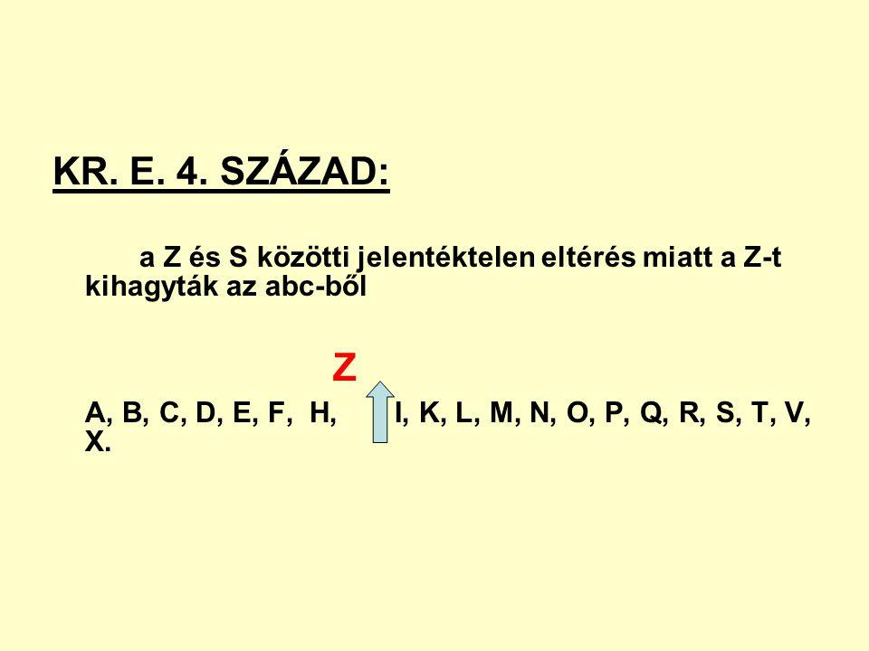 KR. E. 4. SZÁZAD: a Z és S közötti jelentéktelen eltérés miatt a Z-t kihagyták az abc-ből Z A, B, C, D, E, F, H, I, K, L, M, N, O, P, Q, R, S, T, V, X