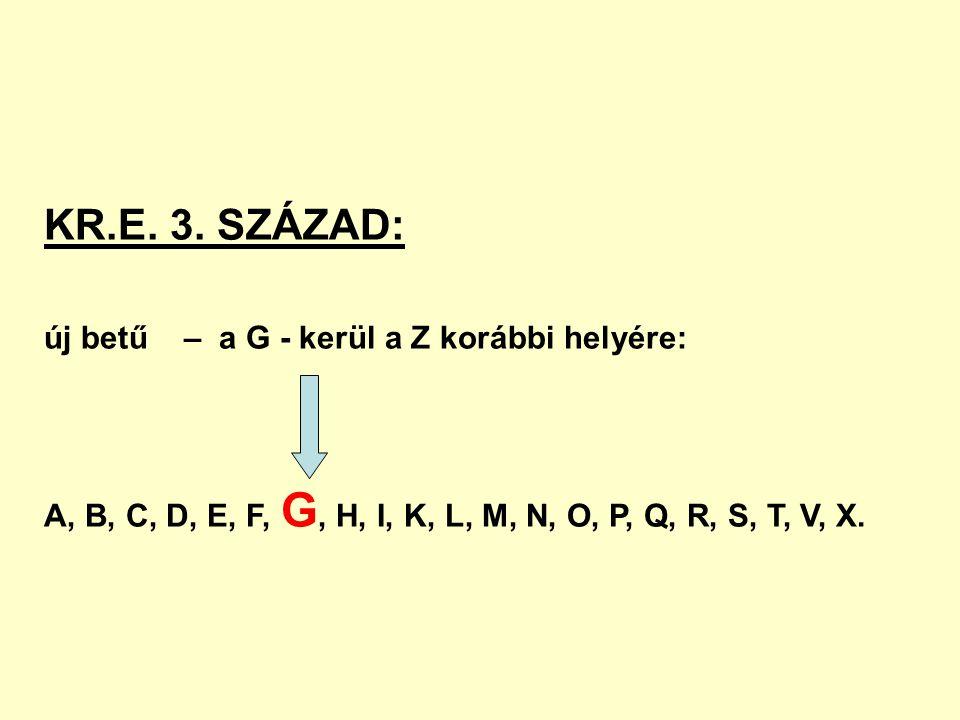 KR.E. 3. SZÁZAD: új betű – a G - kerül a Z korábbi helyére: A, B, C, D, E, F, G, H, I, K, L, M, N, O, P, Q, R, S, T, V, X.