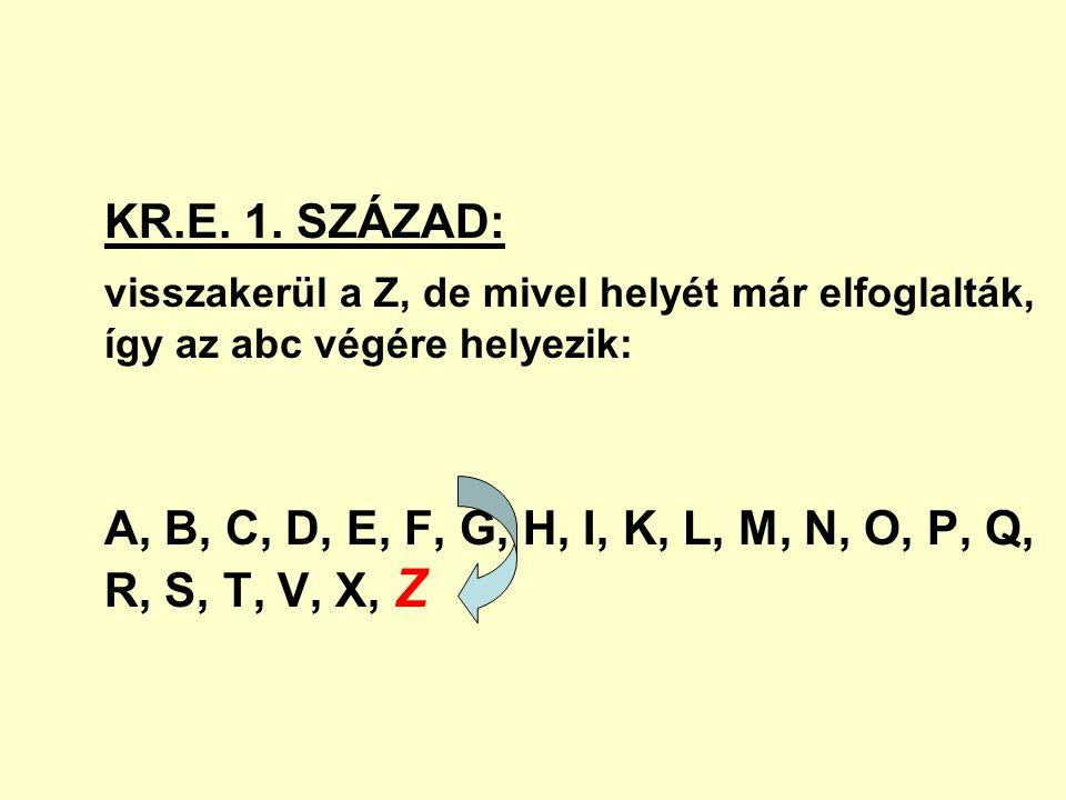 KR.E. 1. SZÁZAD: visszakerül a Z, de mivel helyét már elfoglalták, így az abc végére helyezik: A, B, C, D, E, F, G, H, I, K, L, M, N, O, P, Q, R, S, T