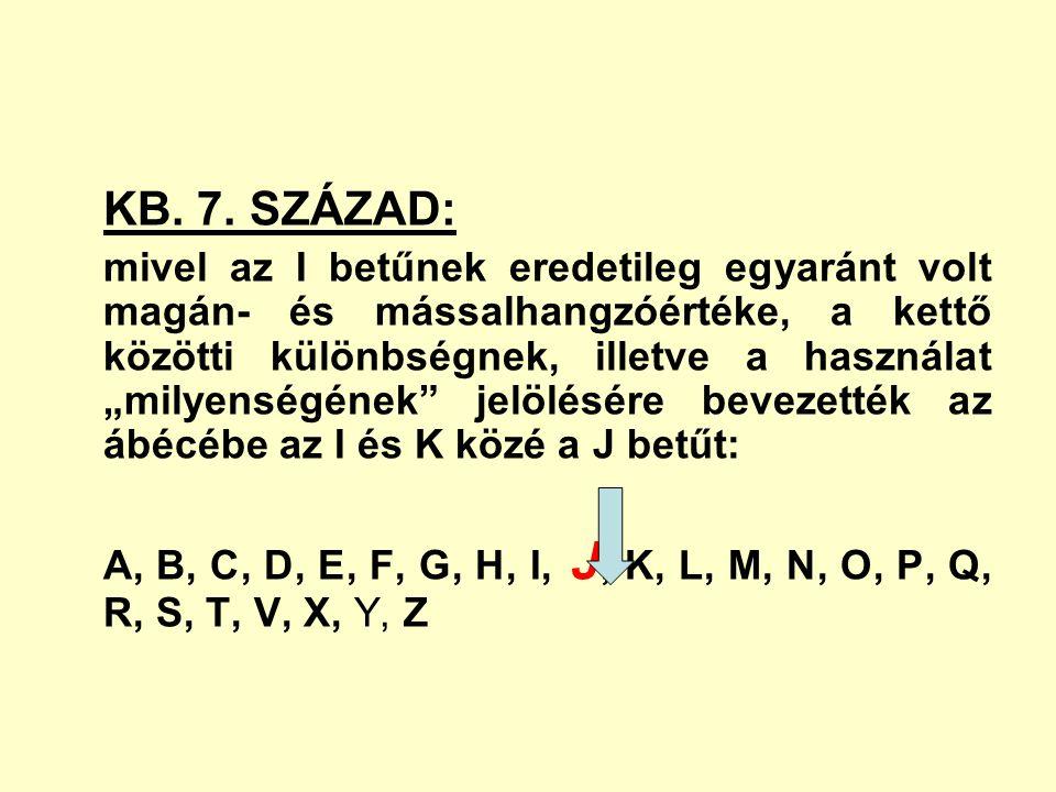 """KB. 7. SZÁZAD: mivel az I betűnek eredetileg egyaránt volt magán- és mássalhangzóértéke, a kettő közötti különbségnek, illetve a használat """"milyenségé"""