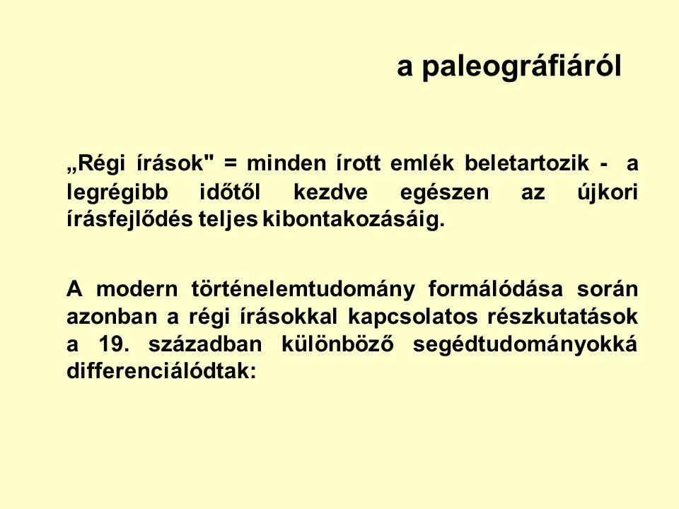 """a paleográfiáról """"Régi írások"""