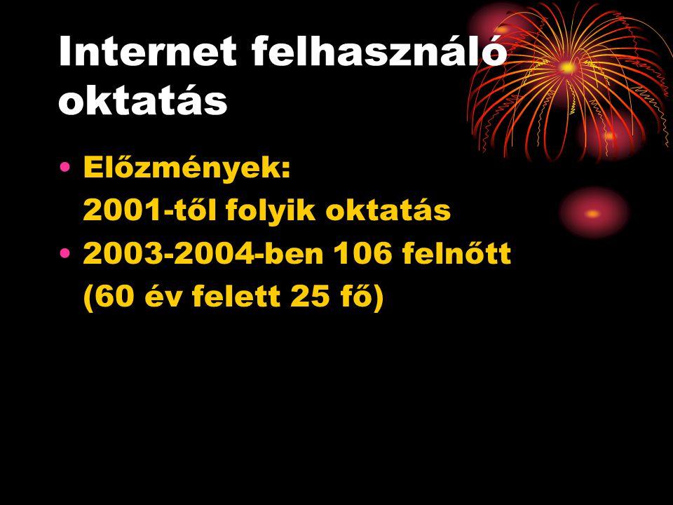 Internet felhasználó oktatás Előzmények: 2001-től folyik oktatás 2003-2004-ben 106 felnőtt (60 év felett 25 fő)