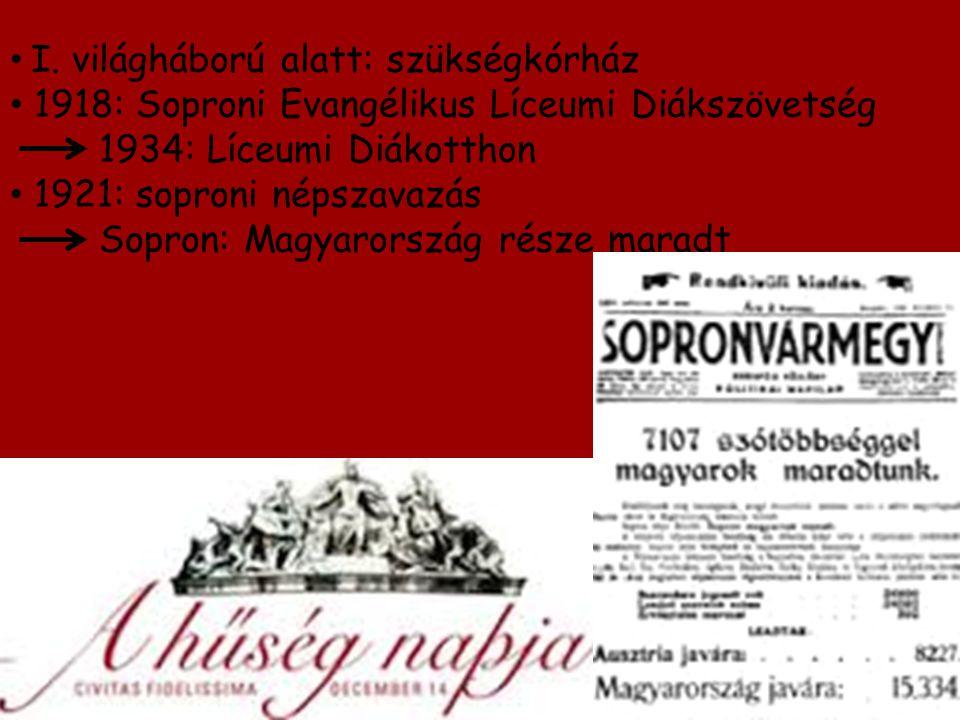 I. világháború alatt: szükségkórház 1918: Soproni Evangélikus Líceumi Diákszövetség 1934: Líceumi Diákotthon 1921: soproni népszavazás Sopron: Magyaro