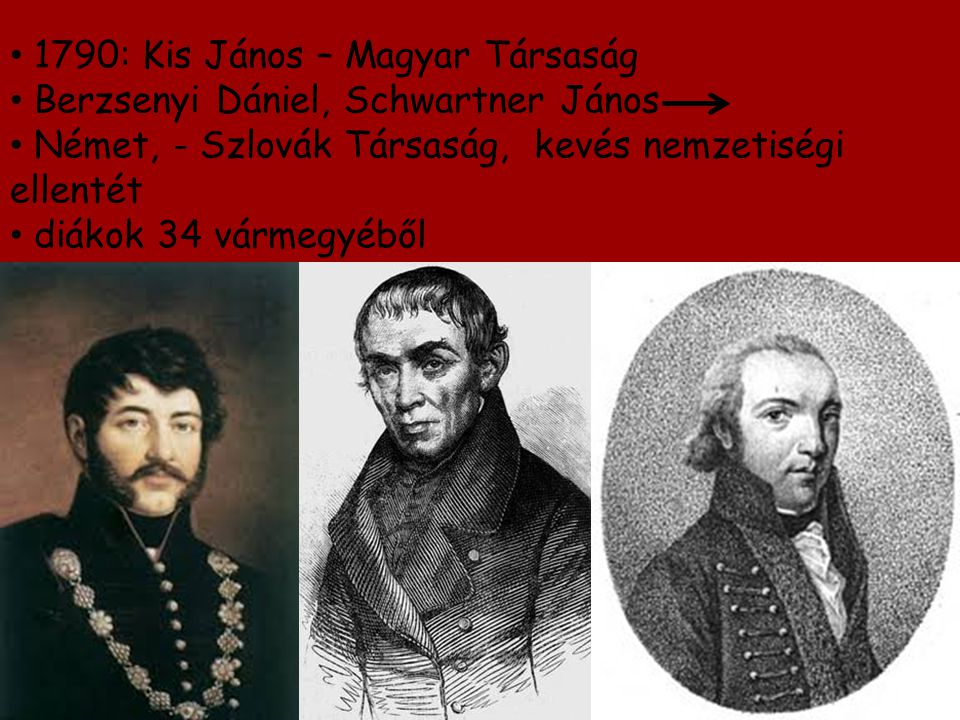 1790: Kis János – Magyar Társaság Berzsenyi Dániel, Schwartner János Német, - Szlovák Társaság, kevés nemzetiségi ellentét diákok 34 vármegyéből