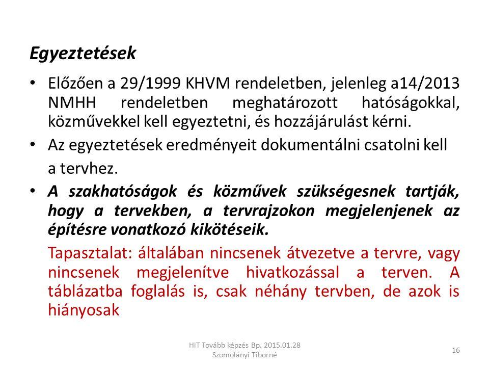 Egyeztetések Előzően a 29/1999 KHVM rendeletben, jelenleg a14/2013 NMHH rendeletben meghatározott hatóságokkal, közművekkel kell egyeztetni, és hozzáj
