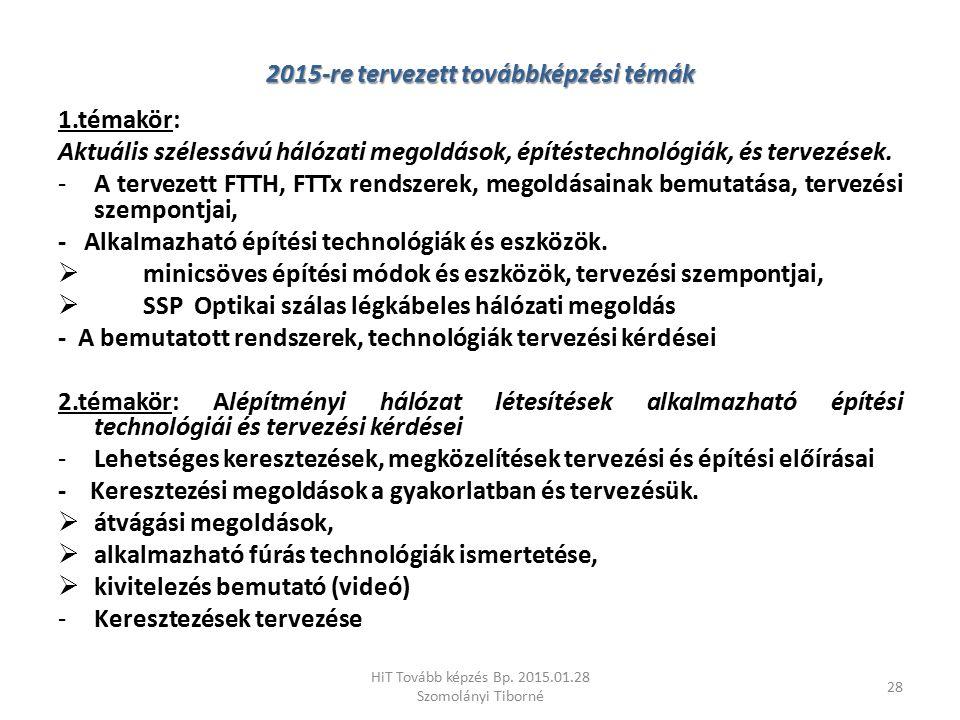 2015-re tervezett továbbképzési témák 1.témakör: Aktuális szélessávú hálózati megoldások, építéstechnológiák, és tervezések. -A tervezett FTTH, FTTx r